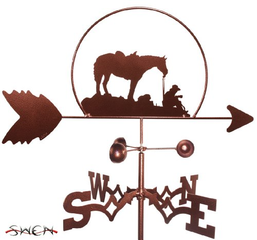 Horse Post Mount Outdoor (Hand Made COFFEE BREAK COWBOY AND HORSE FLAT POST Mount Weathervane)