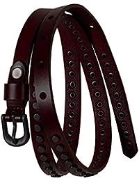 d2408fc59 Studded Rivets Belt for Women Skinny Belts Ladies Leather Jean Belts Punk  Brown Black 0.55'