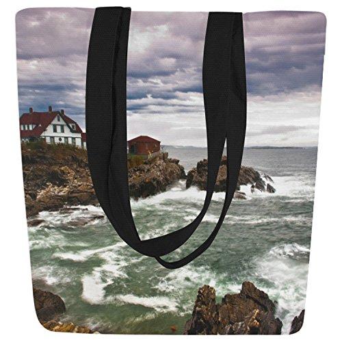 InterestPrint Lighthouse Ocean Wave Seascape Canvas Tote Bag Shoulder Handbag