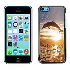 Caucho caso de Shell duro de la cubierta de accesorios de protección BY RAYDREAMMM - Apple iPhone 5C - Dolphin So Long Sunset Ocean Animal