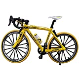 Bicycle Model,Metal Classic Model Cycling Diecast Toy Road/Mountain Bike Alloy Bicycle Handmade Bicycle Art Decoration Ornaments for Bicycle Motocycle Lovers(Yellow)