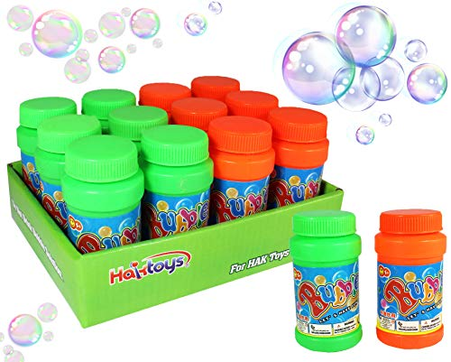"Haktoys (12 Pack) 2 Fl Oz Bubble Bottles Replacement Refills Solutions Compatible with Most Bubble Guns/Shooters/Machines, Cap Diameter: 1.2"", Safe and Non-Toxic, Wand Not Included, Colors May Vary ()"