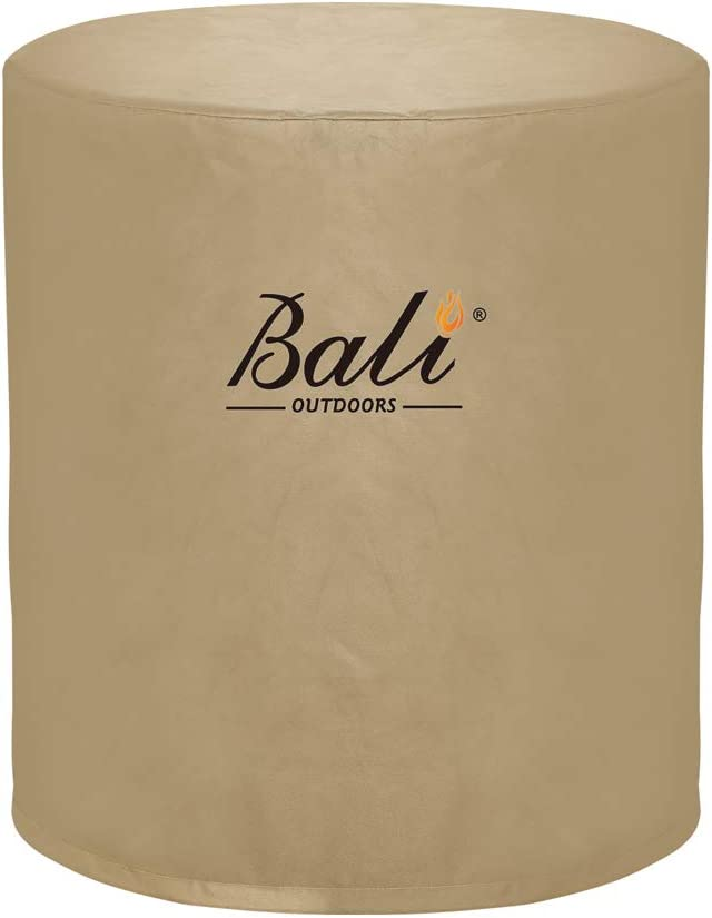 BALI OUTDOORS Round Fire Pit Cover Fire Column Cover Cylinder Fire Pit Cover, 24 Inch, Heavy Duty, Waterproof, Weather Resistant, Khaki