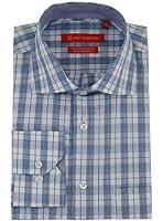 Gino Valentino Mens Check Dress Shirt Cotton Spread Collar Barrel Cuff