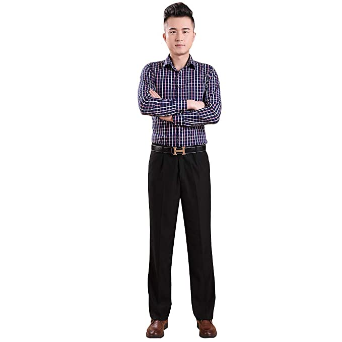 BOZEVON Formal Dress Pants Men Straight Trousers at Amazon ...