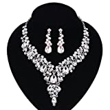 Paxuan Silver Gold Wedding Bridal Bridesmaid Austrian Crystal Rhinestone Jewelry Sets Statement Choker Necklace Drop Dangle Earrings Sets for Wedding Party Prom (White + AB Crystal)