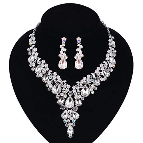 Necklaces & Pendants 100% Quality Fashion Silver Bridal Wedding Crystal Necklace Earrings Pendant Set Prom Jewelry Available In Various Designs And Specifications For Your Selection