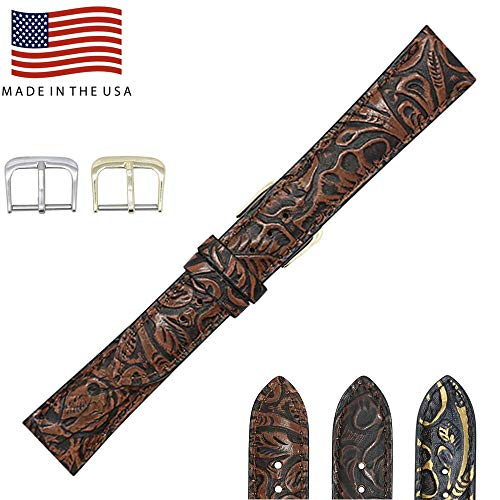 19mm Cognac Western Print Genuine Leather Watch Strap Band - American Factory Direct - Gold and Silver Buckles Included - Made in USA by Real Leather Creations ()