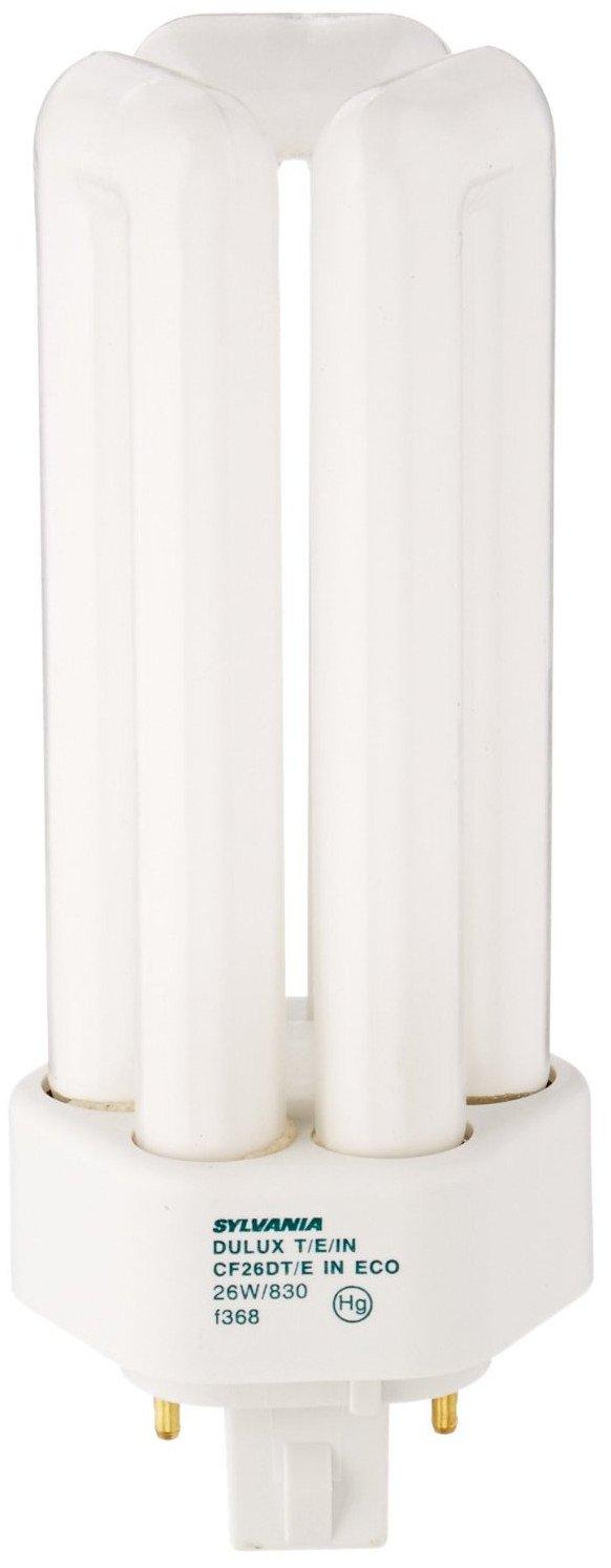 Sylvania 20880 (12-Pack) CF26DT/E/IN/830/ECO 26-Watt Triple Tube Compact Fluorescent Light Bulb, 3000K, 1746 Lumens, 82 CRI, T4 Shape, 4-Pin GX24q-3 Base