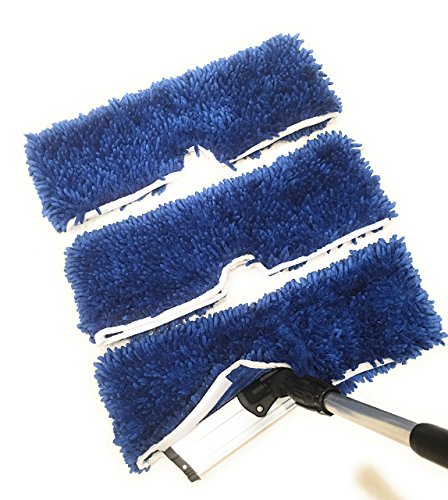 """Flip Mop Refills, Chenille Microfiber Replacement Pads, Dry/Wet, Machine Washable, Double Sided Velcro, 18"""" L X 6"""" W, All Surface Cleaning (Pack of 3)"""