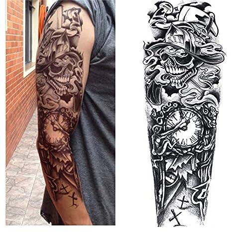 Full Flower Arm Tattoo Sticker Reloj Rose Cool Girls Pintura ...