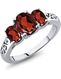 Sterling Silver 3-Stone Oval Garnet Women's 3 Stone Ring (2.50 Carat, Available in size 5, 6, 7, 8, 9)