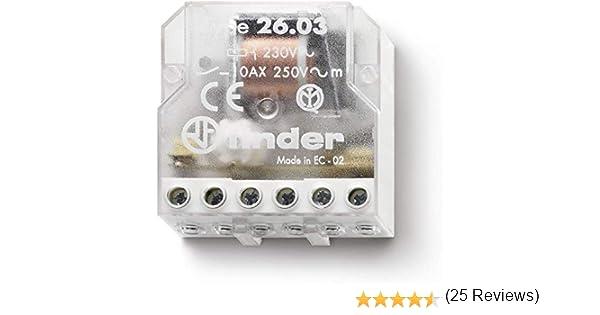 Finder serie 26 - Rele encastrado desviación bipolar contacto abierto+contacto cerrado 230vac: Amazon.es: Bricolaje y herramientas