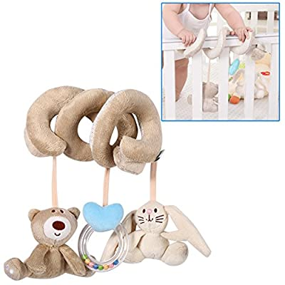 Infant Spiral Wrap Around Activity Crib Baby Soft Toys Bed Stroller Animal Rabbit Bear Hanging Rattle Favorite Toys : Baby