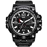 SMAEL Military Watch, Big Face Sports Watch Army Style Multifunctional Wrist Watch for Youth (Silver)