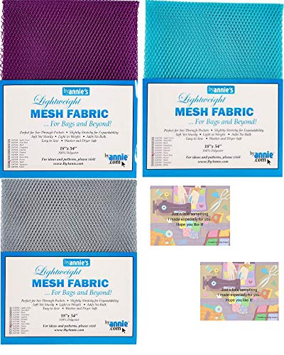 "ByAnnie's Mesh Fabric Lightweight Bundle-Pewter, Tahiti, Parrot Blue 18"" x 54"" with 2 Mini Gift Cards-5 Items"