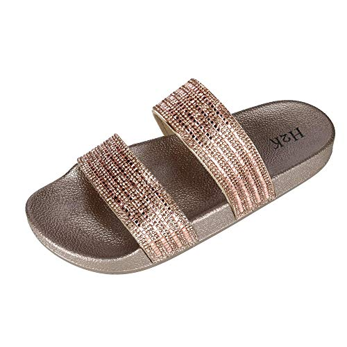 d77e191841549 H2K Women's Fantasy Sparkle Slide Slipper, 10, Rose Gold
