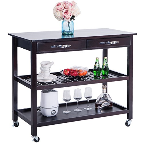Harper Bright Designs Home Kitchen Island Storage Cart, Dining Trolley Cart with Wheels, Espresso