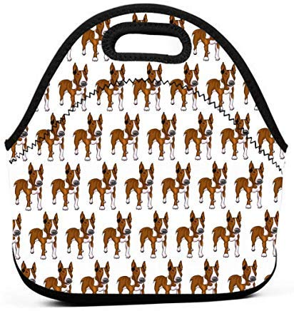 - Cute Neoprene Lunch Bags Insulated Zippered Lunch Tote Bag Box with Bull Terrier Dog