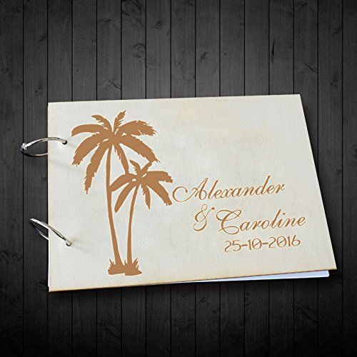 Country Beach Palm Tree Wedding Guest Book Photo Albums Personalized Name and Date Wedding Scrapbook 8 x 12 inches Anniversary Gifts