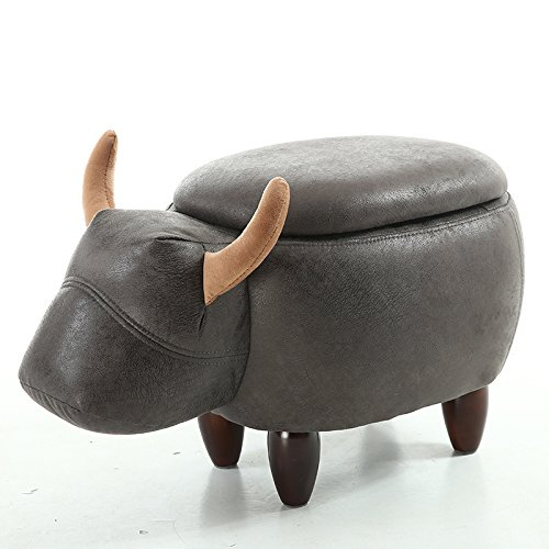 [[Upgraded Version]Sino Banyan Black & Gray Cow Storable Ottoman Stool,Lint with 4 Beech Wood Leg,24