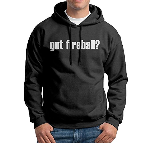 Anguoxia Men GOT FIREBALL Traveler Vintage Hoodie Sweatshirt L Black