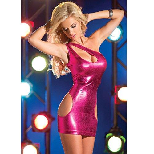 Mini spalline Vestito Rosa caldo elastiche Amlaiworld caldo abito Doona di Rosa libero formato cuoio senza ZqI0w