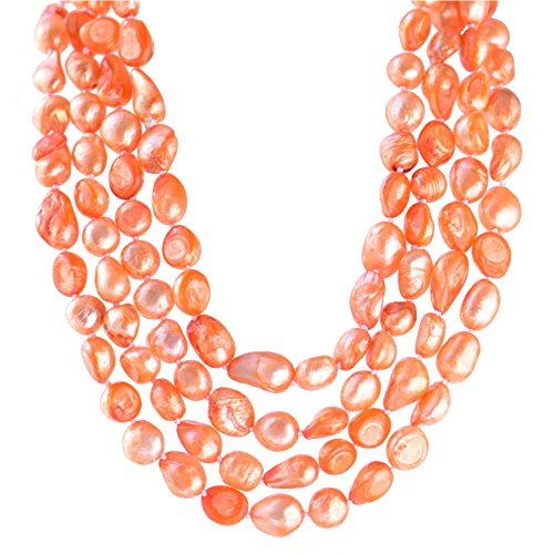 9-10mm Baroque Cultured Freshwater Pearl Necklace Strand Endless Palette Pure ORANGE 60