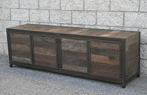 Modern Rustic Credenza. Vintage Industrial Buffet. Infinity Edge Media Console. Reclaimed Wood