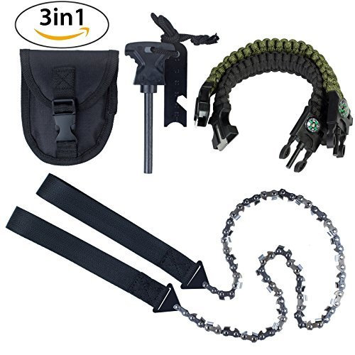 Kinstecks 24Inch Camping Saws 33PCS Serrated Survival Chainsaw Pocket Chainsaw with Firestarter Carrying Pouch and 2 PCS Paracord Bracelet for Survival Gear Camping Hunting