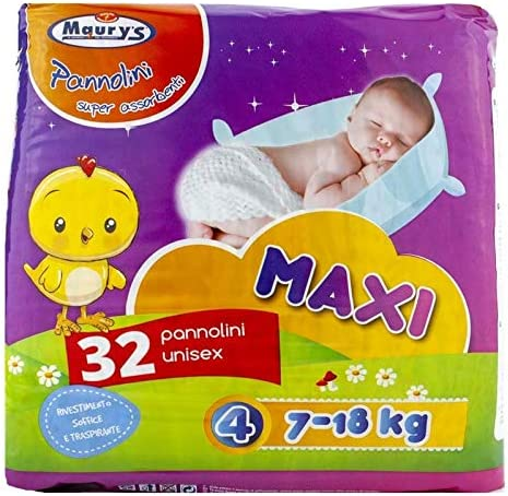 Maurys Pannolini Maxi 7-18kg 32pz Taglia 4 Super Assorbenti Anatomici Sempre Asciutti Ipoallergenici