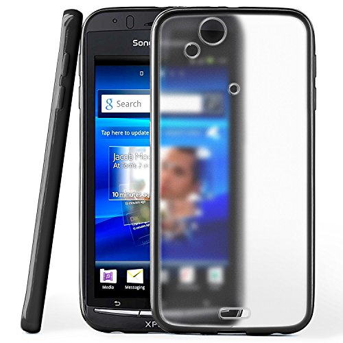 moex Sony Ericsson Xperia Arc S Hard TPU Phone Case Slim with Matte-Transparent Back - Onyx-Black (Sony Ericsson Case S Xperia)