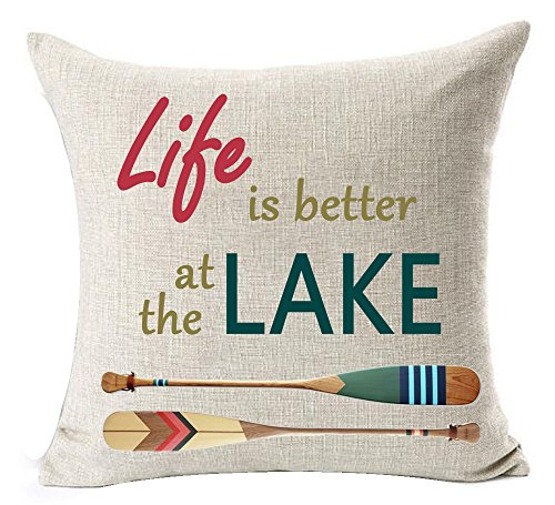 Retro wooden saying Life is better at the lake ferry Paddle Cotton Linen Square Throw Waist Pillow Case Decorative Cushion Cover Pillowcase Sofa 18