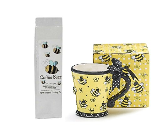 Bees Coffee Mug and Coffee Gift Set - Raised Bees Construction Mug Cup with Bumblebees Coffee Buzz Irish Cream Coffee Gift Set 2 Item Bundle