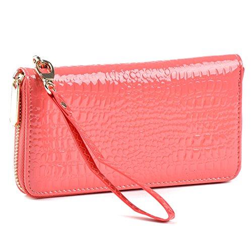 Korean Style Soft Lady Purse Handbag Long Clutches Genuine Leather Zipper Wallet Crocodile Grain (Watermelon Red)
