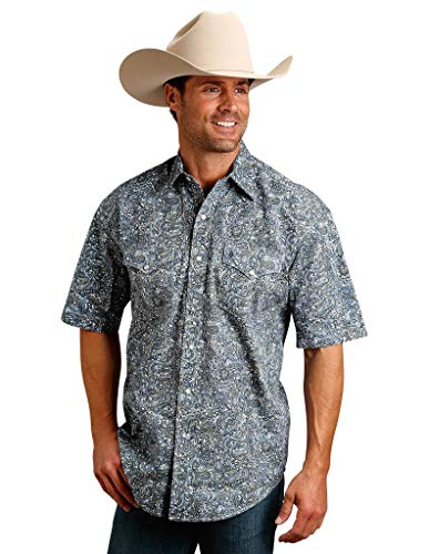 Stetson Apparel Mens Green/Blue Paisley Print Snap Short Sleeve Shirt L Multi (Paisley Snap Western Shirt)