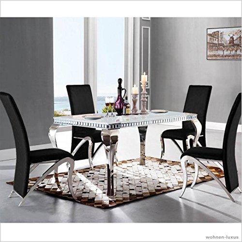 Wonderful Designer Luxus Esstisch Venus 220 X 100 X 76 Cm Weiß Esszimmer Büro  Edelstahl Glas Tisch Barock Chrom: Amazon.de: Küche U0026 Haushalt