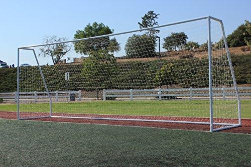"G3Elite 24x8 Regulation Soccer Goal, 3.5mm White Net, Portable, Strongest 2"" Diameter Galvanized Steel Goal Post Design, 8'x24'x2'x4½' League Size, Professional Practice Training Aid + FREE GIFT"