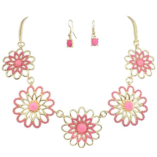 5 Daisy Outline Flower Cluster Dot Bubble Gold Tone Boutique Statement Necklace & Earrings Set (Pink)