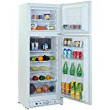 SMETA 110V Electric/Propane Refrigerator Double Door Upright Gas Fridge Freezer,7.5 cu ft,AC DC