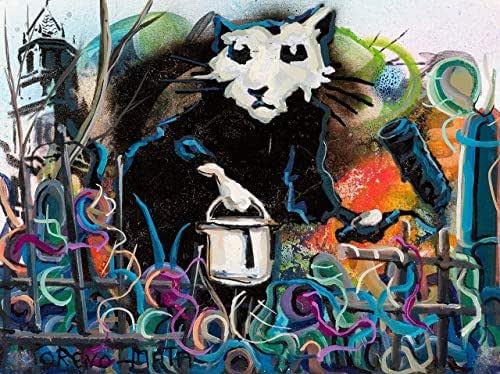 Una Mano De Pintura Banksy Tribute Pintura Original Hecha A Mano