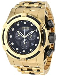 Invicta Men's 12753 Bolt Reserve Chronograph Black Mother-of-Pearl Dial 18k Gold Ion-Plated Stainless Steel Watch