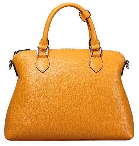 Yellow Genuine Leather (Ilishop Women's Yellow Genuine Leather Tote Handbag)