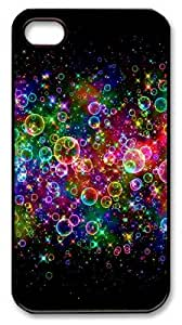 Apple iphone 4/4S Cases Colorful Neon Light Bubbles Polycarbonate Plastic Shell Case Cover for iPhone 4S/4 - Black