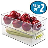 mDesign Refrigerator, Freezer, Pantry Cabinet Organizer Bins for Kitchen - 8' x 4' x 14.5', Pack of 2, Clear
