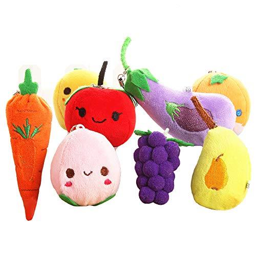 8pcs Cute Fruits & Vegetables Bag ornaments / plush fruits and vegetables Mobile phone & Key Pendants Christmas Tree Hanging ornaments