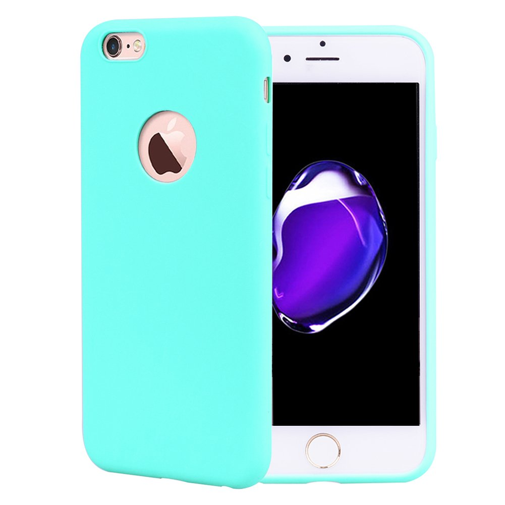 Funda iPhone 6S Silicona Carcasa Suave Flexible TPU Ultra Fina Delgado Anti Golpes Choque Case Mó vil Candy Color Cubierta Protectora Caja Tapa iPhone 6/6S Blanco CoverTpu