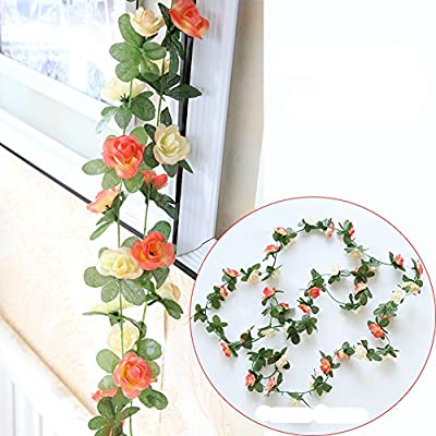 Meiliy 2 Pack 8.2 FT Fake Rose Vine Flowers Plants Artificial Flower Home Hotel Office Wedding Party Garden Craft Art Decor