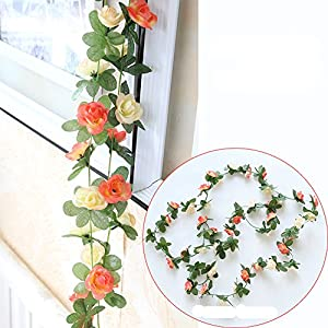 Meiliy 2 Pack 8.2 FT Fake Rose Vine Flowers Plants Artificial Flower Home Hotel Office Wedding Party Garden Craft Art Decor 87