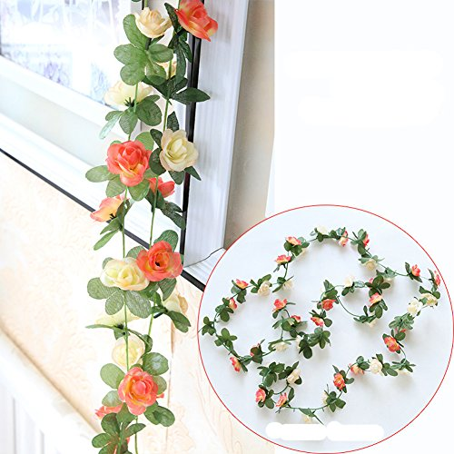 Meiliy 2 Pack 8.2 FT Fake Rose Vine Flowers Plants Artificial Flower Home Hotel Office Wedding Party Garden Craft Art Decor